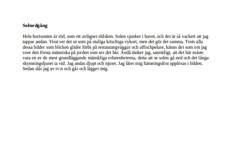 Repris: Solnedgång